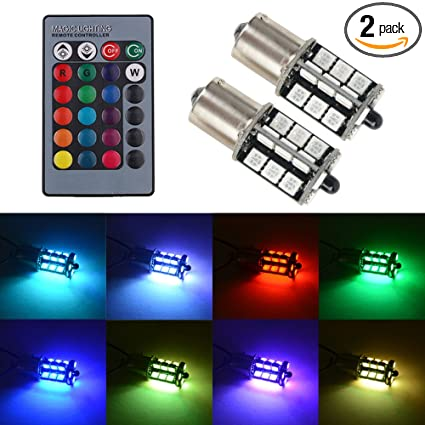 99f2e955723b0 1156 LED RGB Bulb Amber White Red Multicolor 16 Color Changing Brake Lights  Turn Signal Reverse