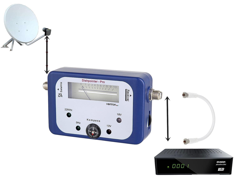 Venton Satellitenfinder digitales HD-TV Satelliten Messger/ät Sat-Finder f/ür Sat Anlagen Camping Antennen Satellit Sch/üssel als Signal Tester Einstellger/ät zum ausrichten LNB Receiver