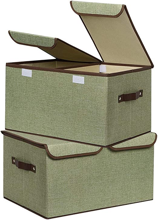 Set of 4 Foldable Storage Bins Basket for Shelves Reusable Fabric Baskets with Handle Environmental Cotton Linen Bin Storage Closet Organizers for Kid,Toy,Nursery or Decorative