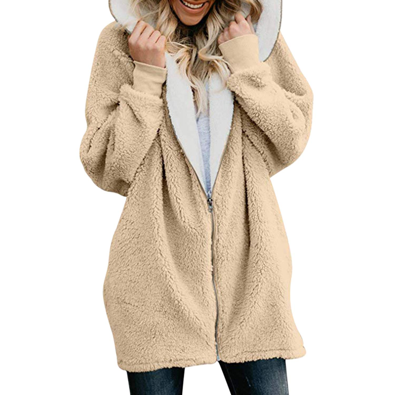 Katesid Lady Winter Fleece Jaket Sherpa Hoodie Casual Stylish Zipper Coat