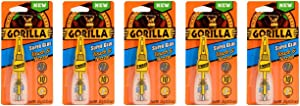 Gorilla Super Glue with Brush & Nozzle Applicator, 10 Gram, Clear, (Pack of 5)