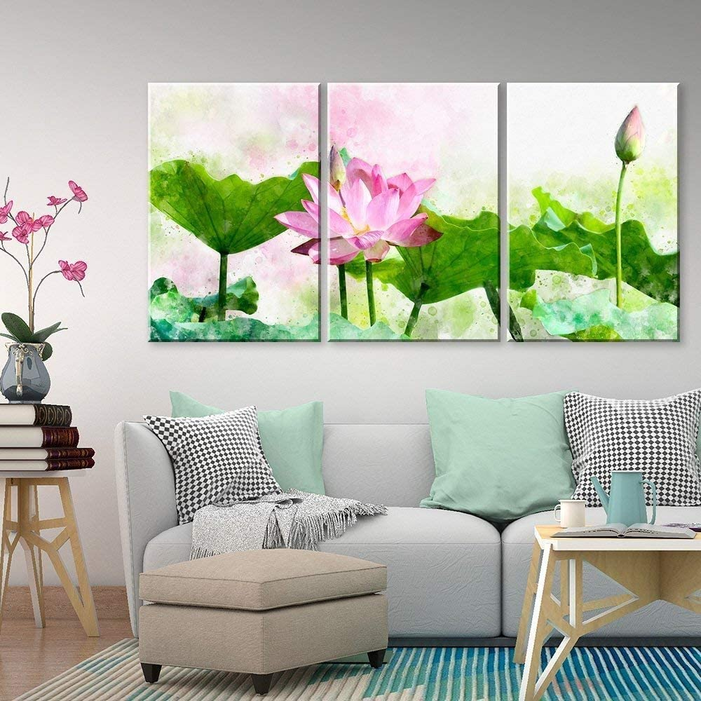 3 Panel Canvas Wall Art - Watercolor Style Green Lotus Leaf and Pink Lotus Flower - Giclee Print Gallery Wrap Modern Home Art Ready to Hang - 16