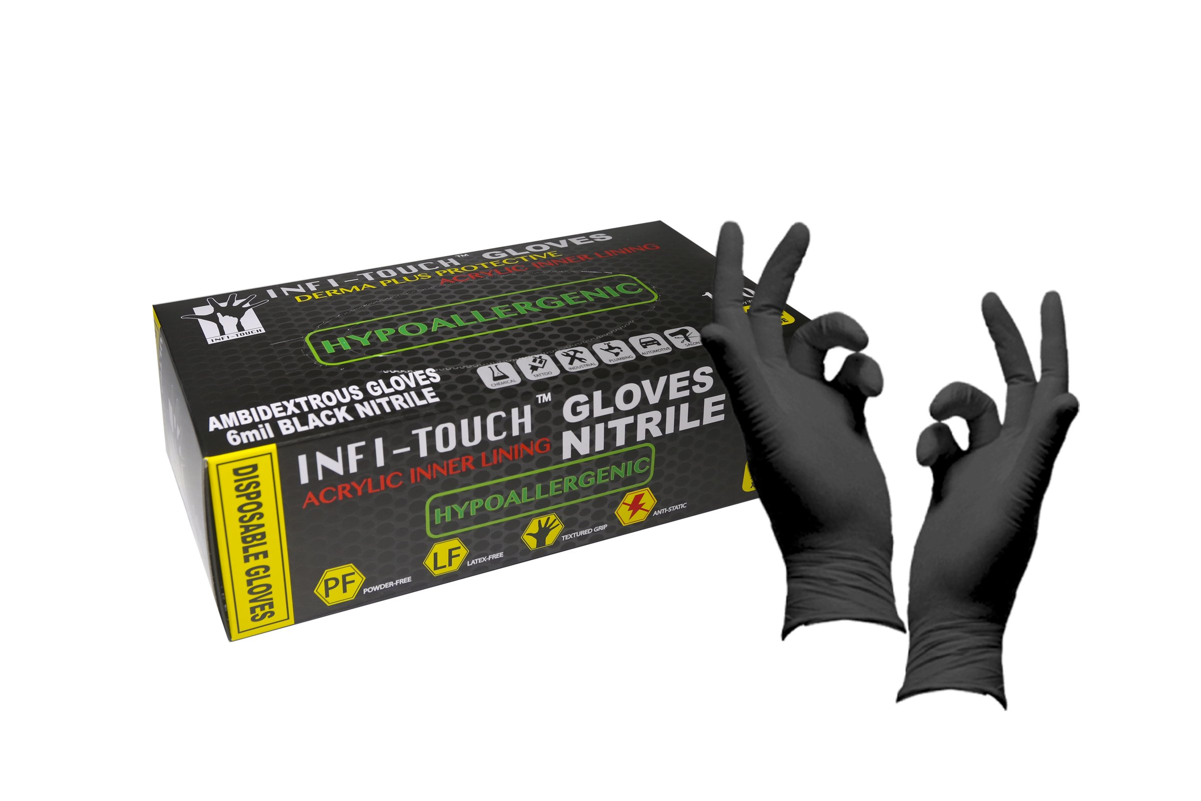 Infi-Touch Heavy Duty, Black Nitrile Gloves, 9.5'' Length, Powder Free, Hypoallergenic, 6 Mil Thickness, 100 Count - Medium