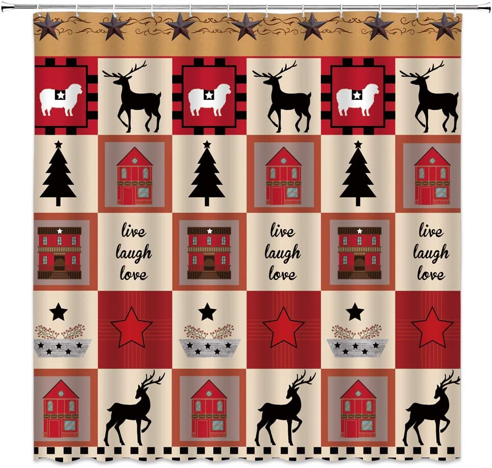 Primitive Home Country Shower Curtain Live Laugh Love Sweet Farmhouse Deer Birdhouse Christmas Tree Berry Patriotic Texas Star Check Plaid American Bathroom Curtain Set Fabric 70x70 Inch with Hooks