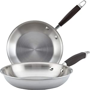 Anolon 31513 Advanced Stainless Steel Frying Pan / Fry Pan / Skillet- 8.5 Inch and 10.25 Inch, Silver