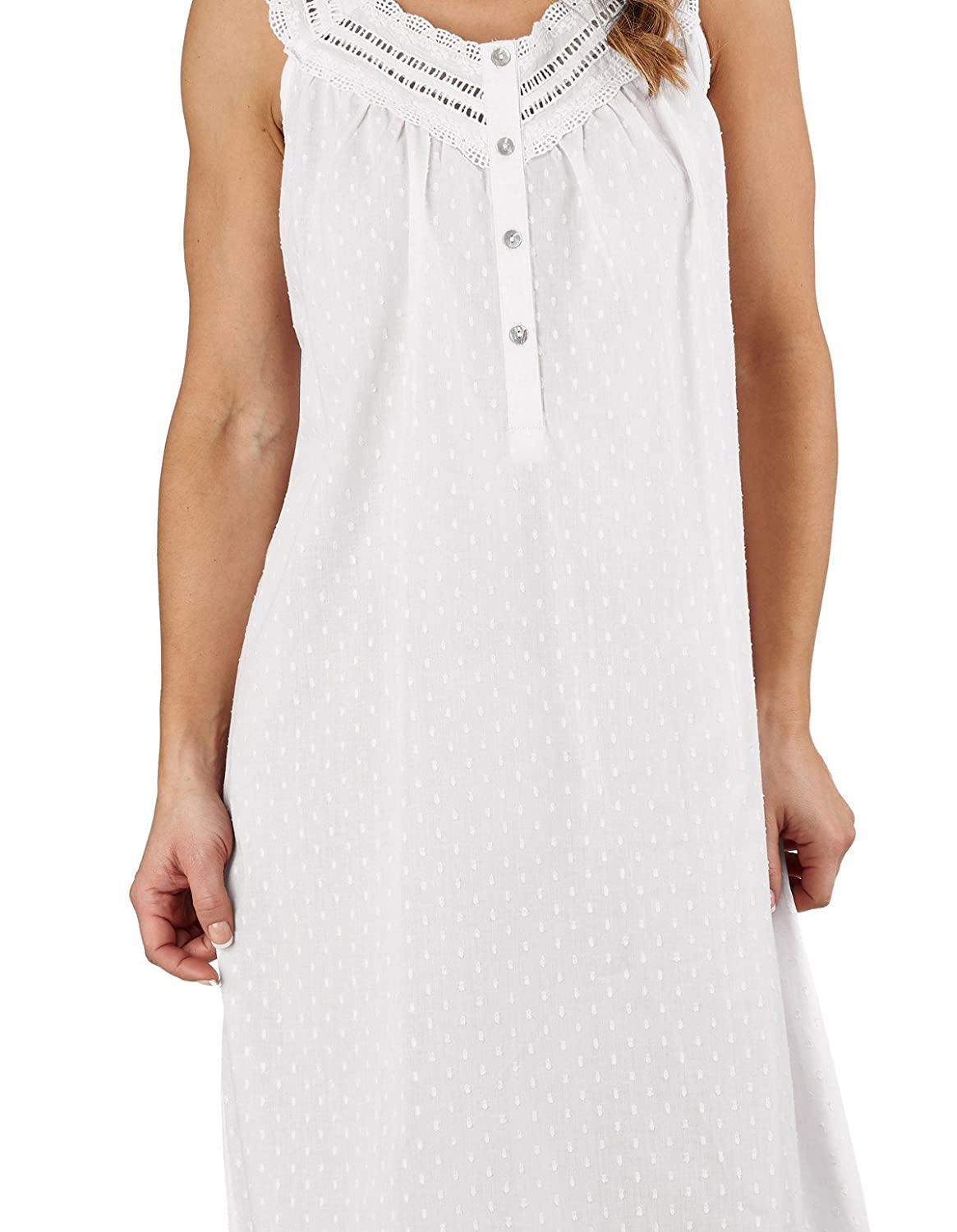 Slenderella ND1211L Women s Dobby Dot White 100% Cotton Gown Nightdress at  Amazon Women s Clothing store  4f1009745