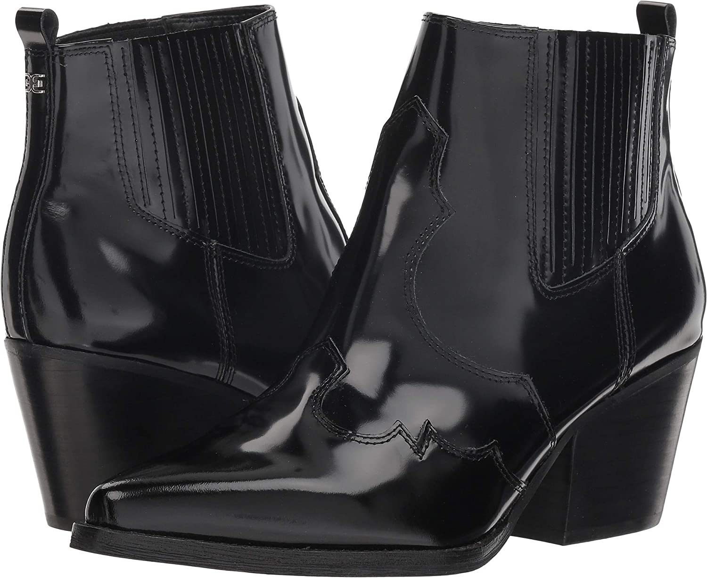 Black Brush Off Box Leather Sam Edelman Womens Winona Western Boot