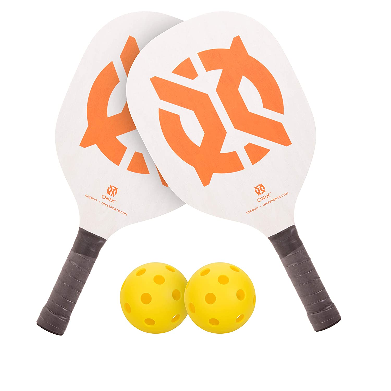 Onix Recruit Pickleball Starter Set Includes 2 Paddles and 2 Pickleballs for All Ages and Skill Levels to Learn to Play