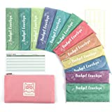 Hommie Cash Envelopes for Budget System- Money Envelopes for Budgeting and Saving with 1 Pink Carry Pouch, 12 Pack of…