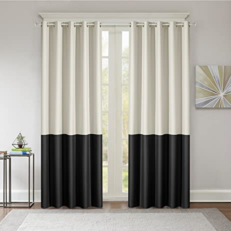 Dreaming Case Stitching Style Two Tone Curtains Light Blocking Drapes Color  Block Curtains 52u0026quot; Wide