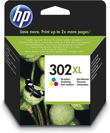 HP 302XL F6U67AE, Cartucho de Tinta Original de alto rendimiento,Tricolor, Compatible con impresoras de inyección de tinta HP DeskJet 1110,2130,3630; ENVY 4520; OfficeJet 3830,4650,5220,5230: Hp: Amazon.es: Oficina y papelería