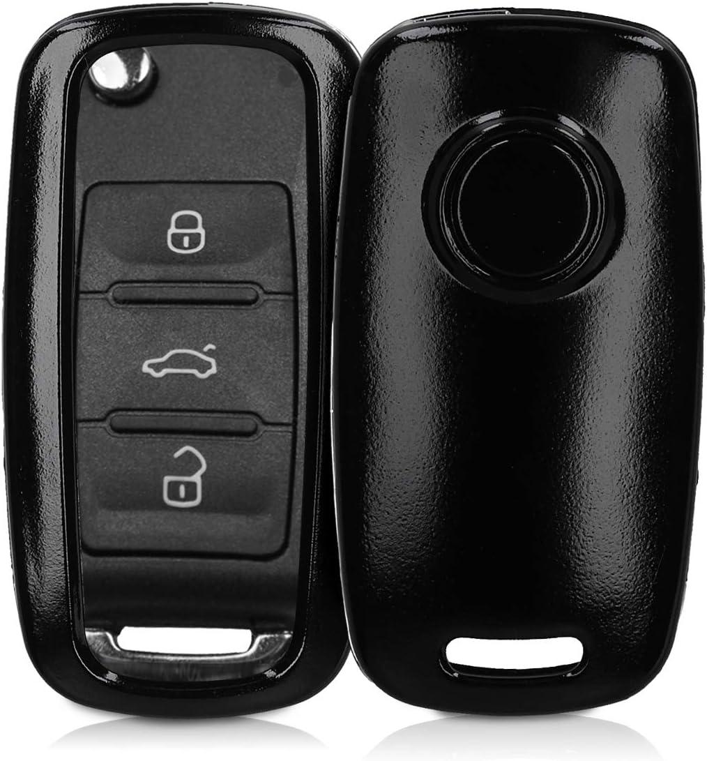 Case Mando de Auto Oro Metalizado kwmobile Funda de Silicona para Llave de 3 Botones para Coche VW Skoda Seat Carcasa Protectora Suave de Silicona