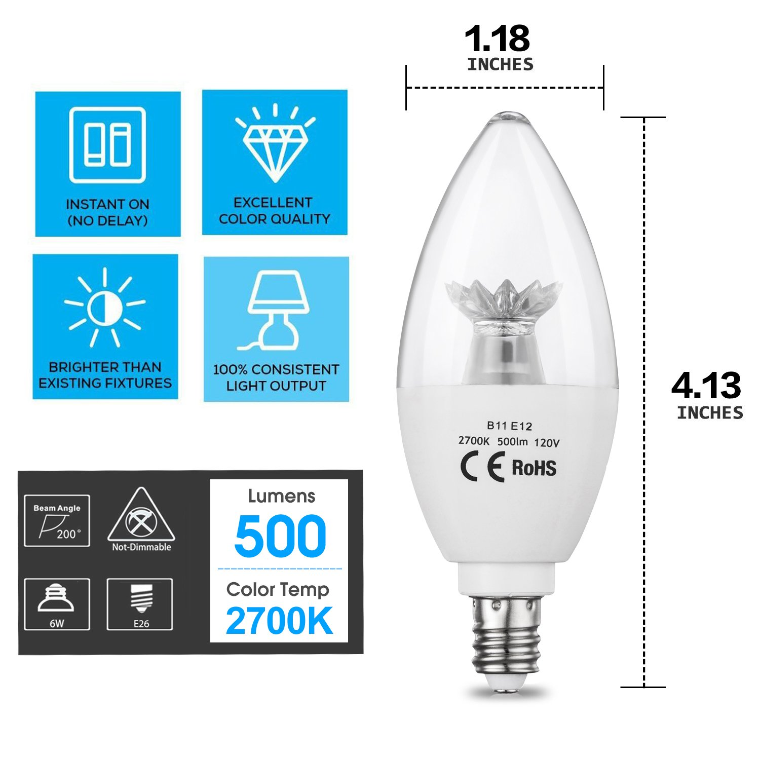 Pack of 6 CPLA LED Candle Light Bulbs 60W Incandescent Light Bulbs Equivalent 4000K Daylight LED Chandelier Light Bulb with Candelabra E12 Base Non-Dimmable