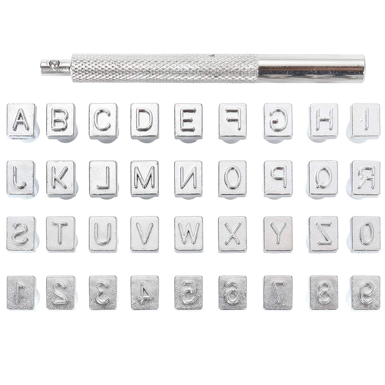 Saddle Making Tools Leather Craft Carving Embossing Stamp 6mm Letter Alphabet and Number Stamp Punch Kit 26 Letters Alphabet from A-Z /& 10 Numbers 0-9
