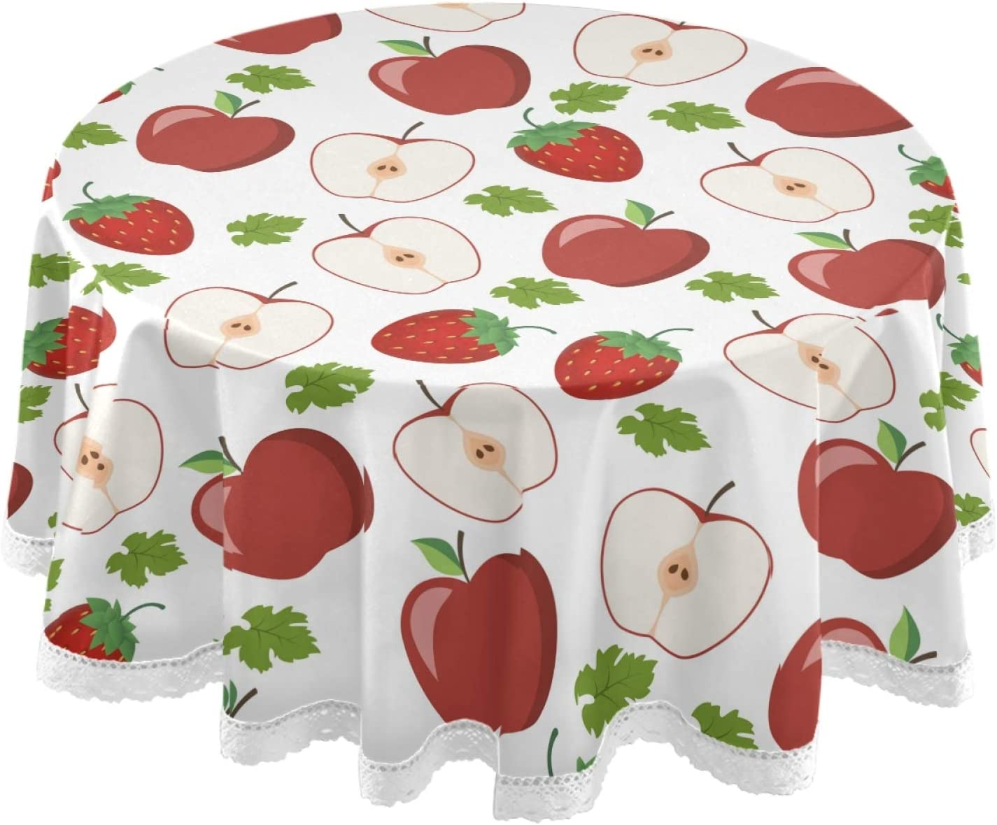 Dallonan Table Decoration for Party Fruits Apple Round Table Cloth, Green Leaf Strawberry Polyester White Lace Tablecloth Round Table 60 Inch for Dinner Table Decor