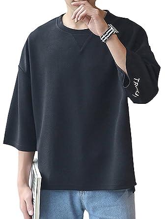 1120d128db3f04 Amazon | FansX メンズ ビッグ Tシャツ 5分袖 7分袖 クルーネック ゆったり シルエット | Tシャツ・カットソー 通販