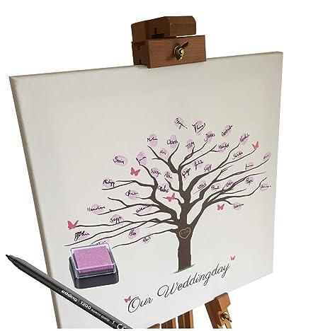 KATINGA Lienzo Bodas – Diseño de Cerezo como Libro de visitas para Huellas Dactilares (40