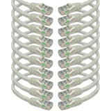iMBAPrice Cat6 Snagless Ethernet Patch Cable in White 0.5 Feet (6 Inches) - 10 Pack