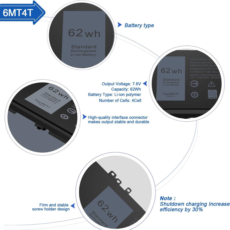 CREATESTAR 6MT4T Laptop Battery for Dell Latitude E5470 E5570 14 ...