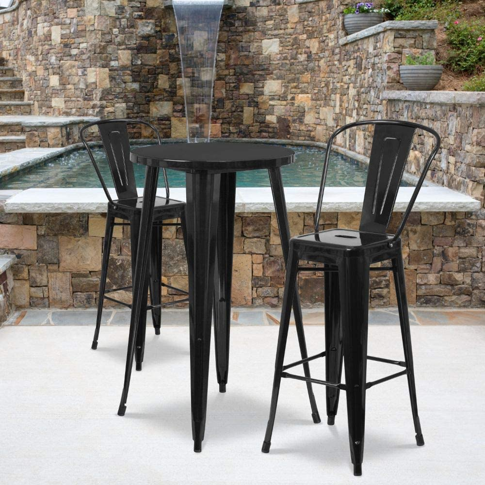 Flash Furniture 24 Round White Metal Indoor-Outdoor Bar Table Set with 2 Cafe Stools