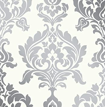 Off white silver damask foil wallpaper paste the wall 10mtr roll amazon co uk diy tools