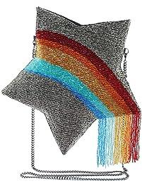 Mary Frances When You Wish Beaded Rainbow Star Crossbody Clutch Handbag