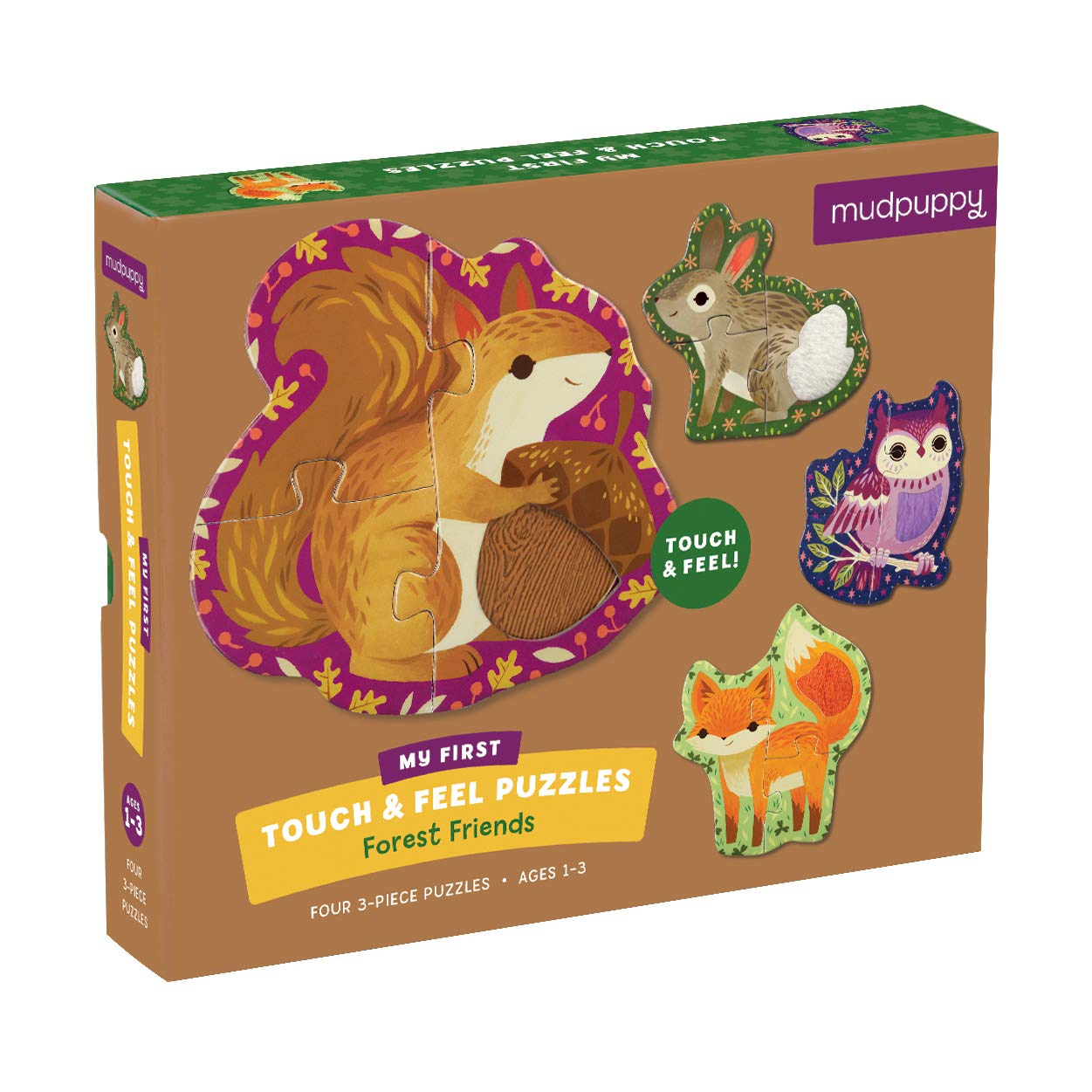 Mudpuppy Forest Friends My First Touch & Feel Puzzle – Great for Kids Age 1-3 - 4 Animal Shaped 3-Piece Puzzles – Textured Pieces for a Fun Sensory Experience – Introduce Problem-Solving to Toddlers