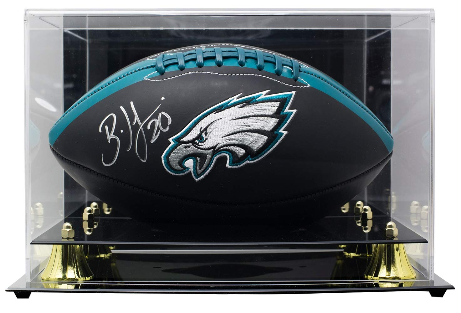 Brian Dawkins Signed Philadelphia Eagles Black Full Size Logo Football JSA w/Deluxe Acrylic Case