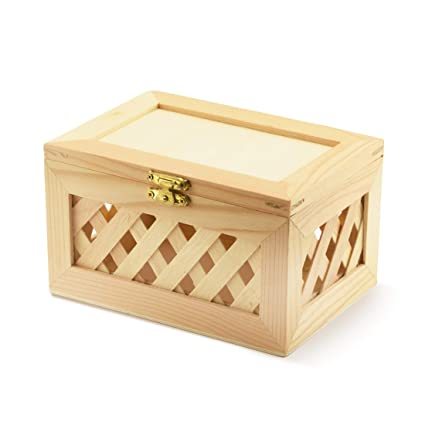 Unfinished Wood Box Trinket Box Wooden Jewelry Box Nested Beautiful Lattice Design With Hinged Lid And Clasp Large