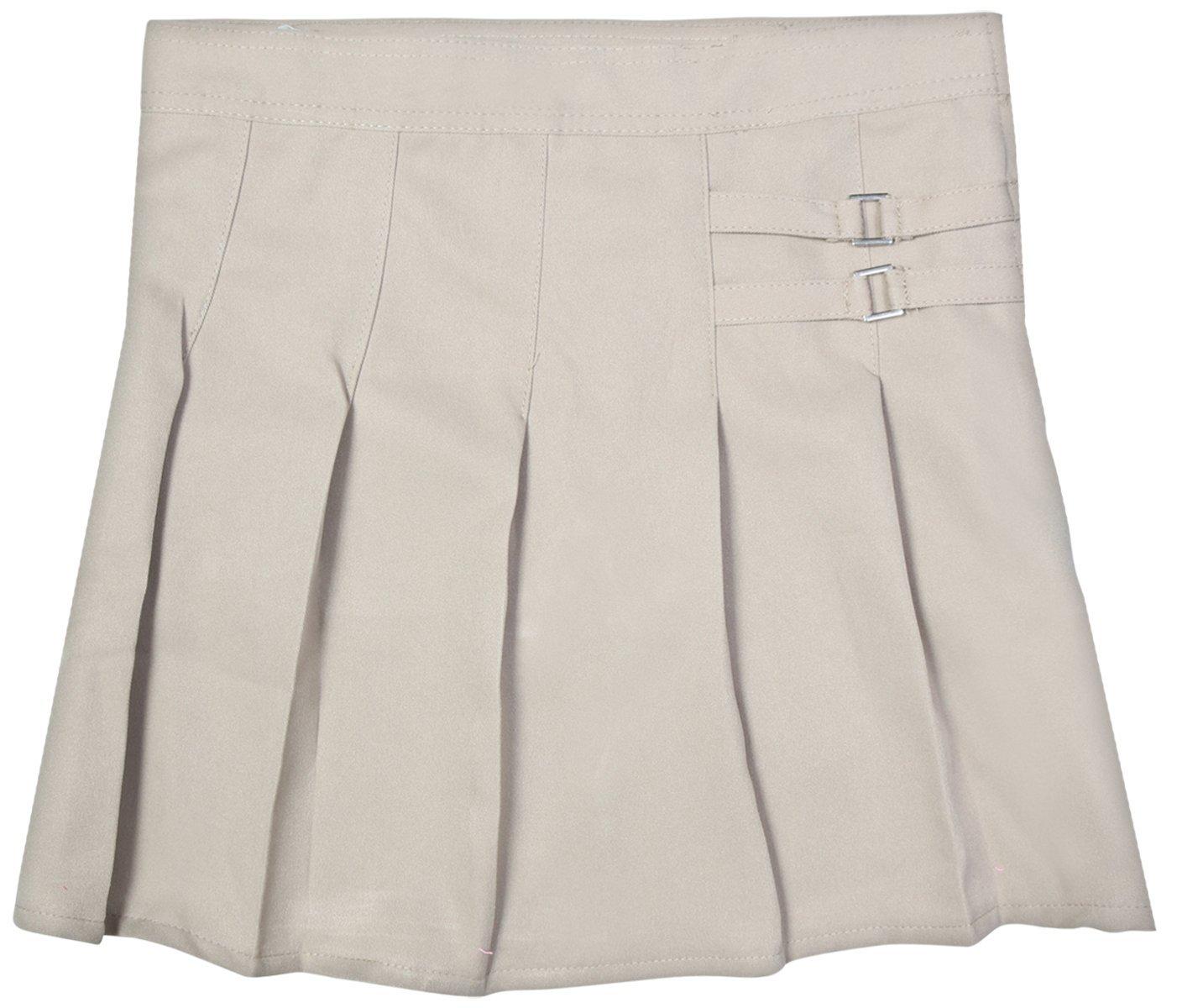 Beverly Hills Polo Club Girls School Uniform Double Waist Tab Pleated Scooted, Khaki, Size 5'