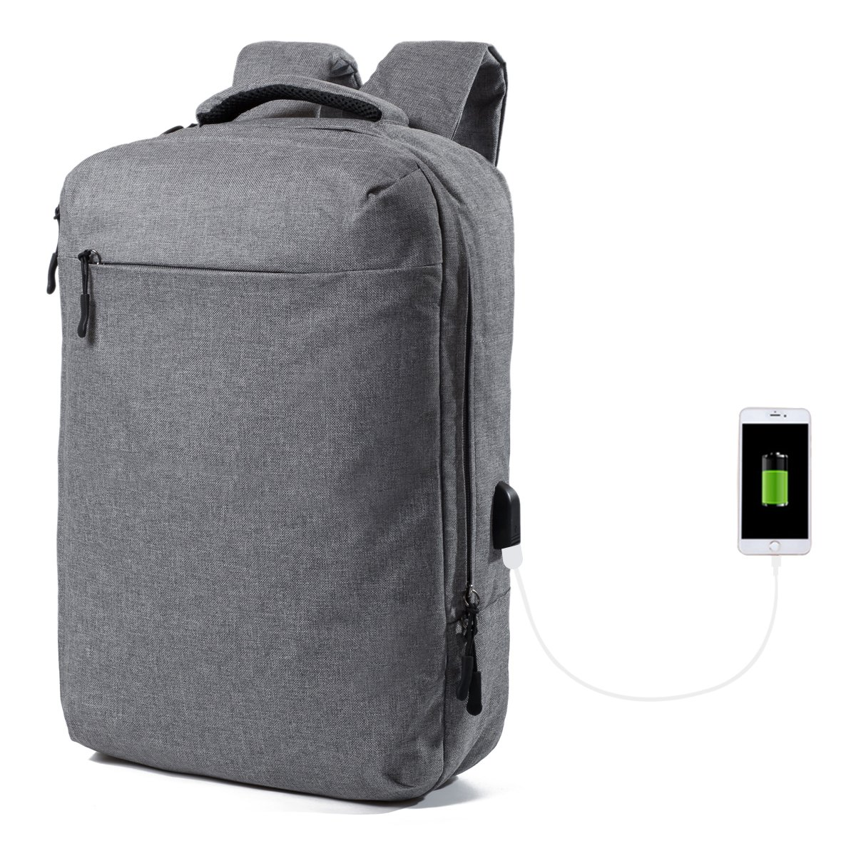 Backpack with usb Charging Port In Cipher Lightweight Travel Backpack College School Bag Rucksack Large Capacity Business Bags Fits up to 15.6 Inch Laptop (Grey) cheap