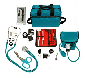ASATechmed Nurse Starter Kit - Stethoscope, Blood Pressure Monitor, Tuning Forks, and More - 18 Pieces Total (Teal)