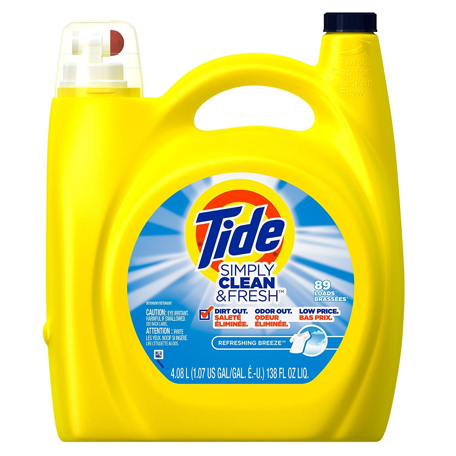 Tide Simple Clean Fresh Liquid Laundry Detergent, 138 Ounce (4.08 L), Refreshing Breeze (5pack 138 Ounce)