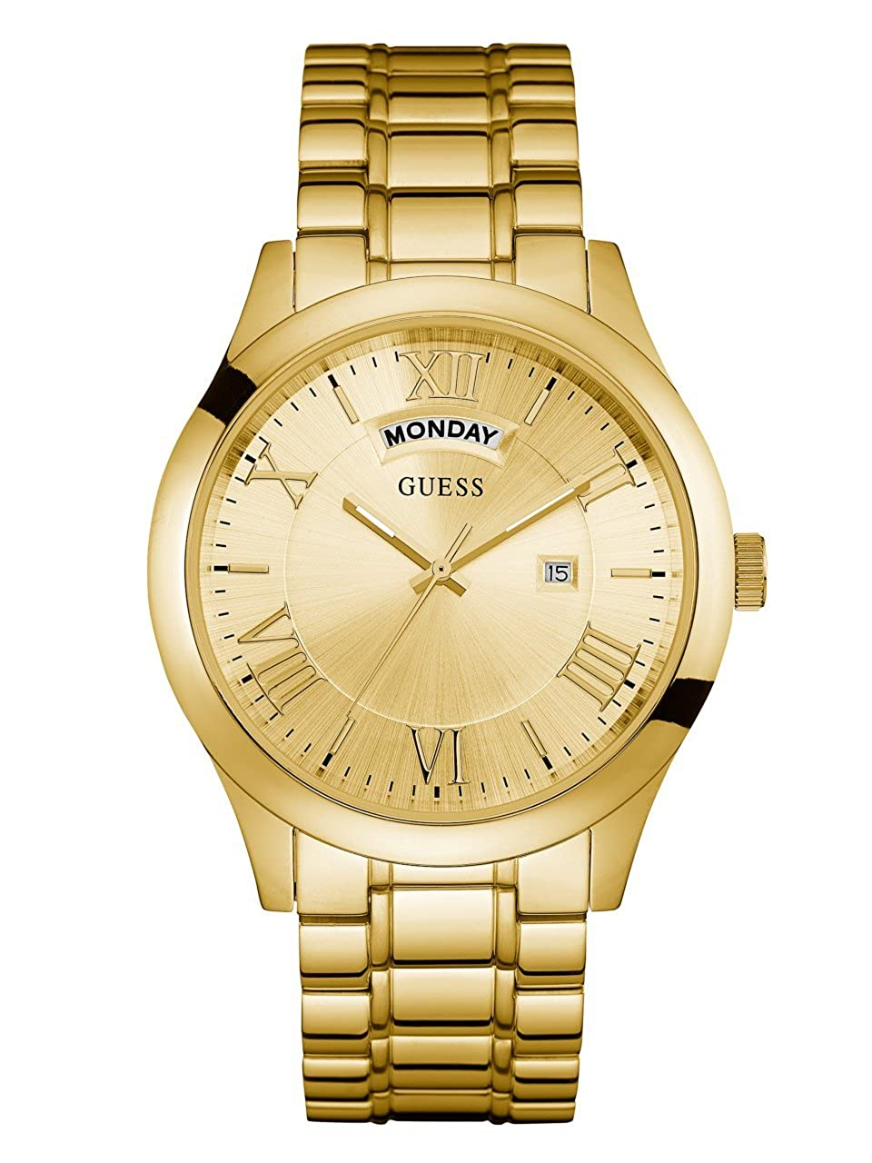 GUESS Men s Stainless Steel Casual Bracelet Watch with Day and Date Display