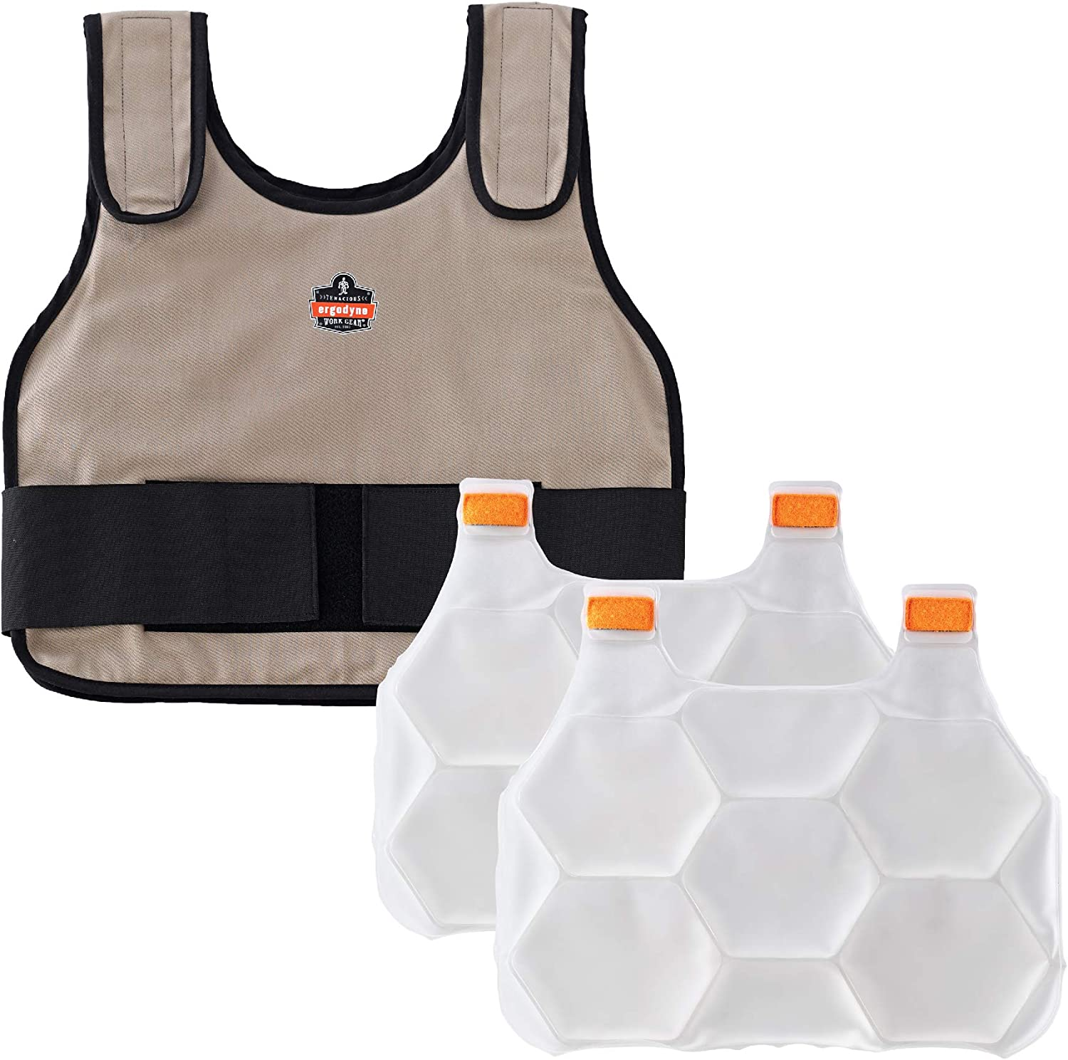 Cooling Vest with 2 Ice Packs, Instant Cooling Relief, Flexible Design, Ergodyne Chill Its 6230