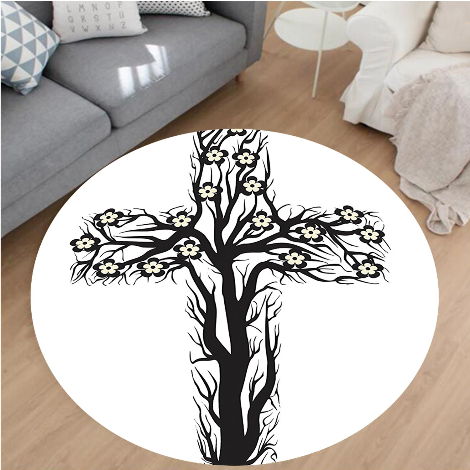 Nalahome Modern Flannel Microfiber Non-Slip Machine Washable Round Area Rug-l Christian Cross in Tree Shape Christ Religion Prayer Blessed Miracle Symbol Black White area rugs Home Decor-Round 75''