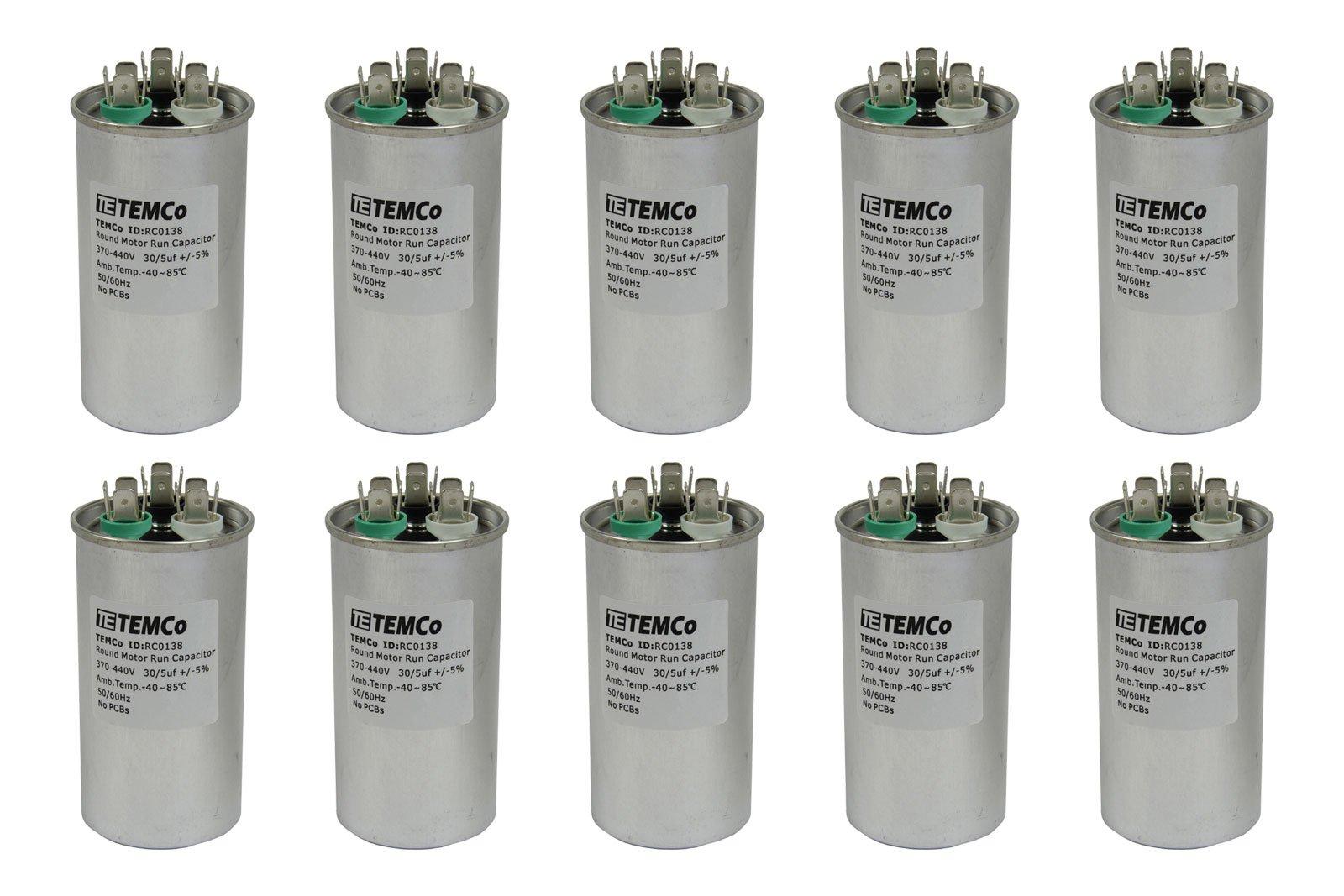 TEMCo 10 LOT Dual Run Capacitor RC0140-30/5 mfd 370 V 440 V VAC volt 30+5 uf AC Electric Motor HVAC