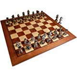 Hayes Inlaid Maple, Mahogany, and Sapele Wood Chess Board with Metal Pieces, 2.5 Inch King, and Extra Queens (Large 15 x…