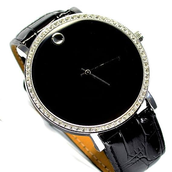 XXL Mujer Reloj Reloj de pulsera Negro Plata Brillantes Trend Mujer Fashion Power Reloj 159