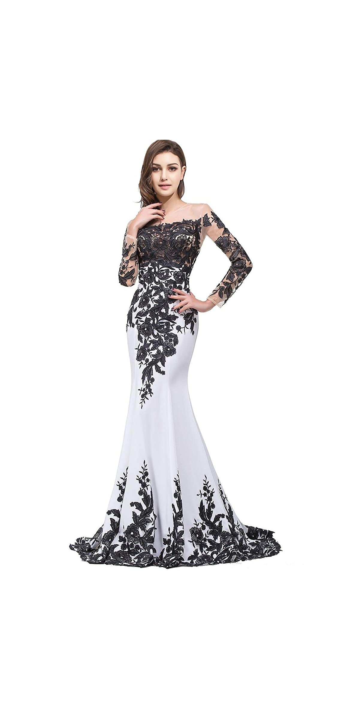 Womens Lace Applique Evening Dress With Long Sleeves Long
