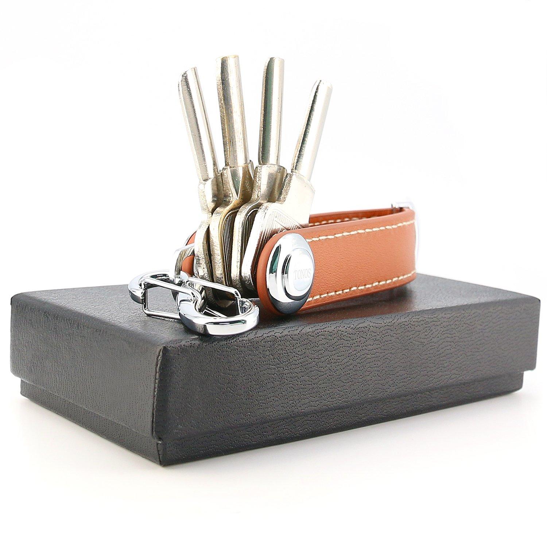 Korci - Llavero compacto de piel con mecanismo de bloqueo ...