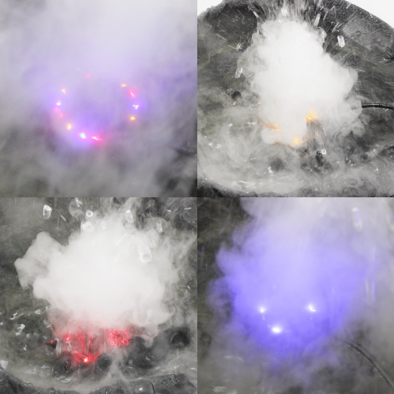 Maker ad ultrasuoni Argento Shineus DC 24V 12 LED Luce colorata Fogger Air Humidifier Atomizzatore Stagno fontana dacqua con 2 pezzi di atomizzazione