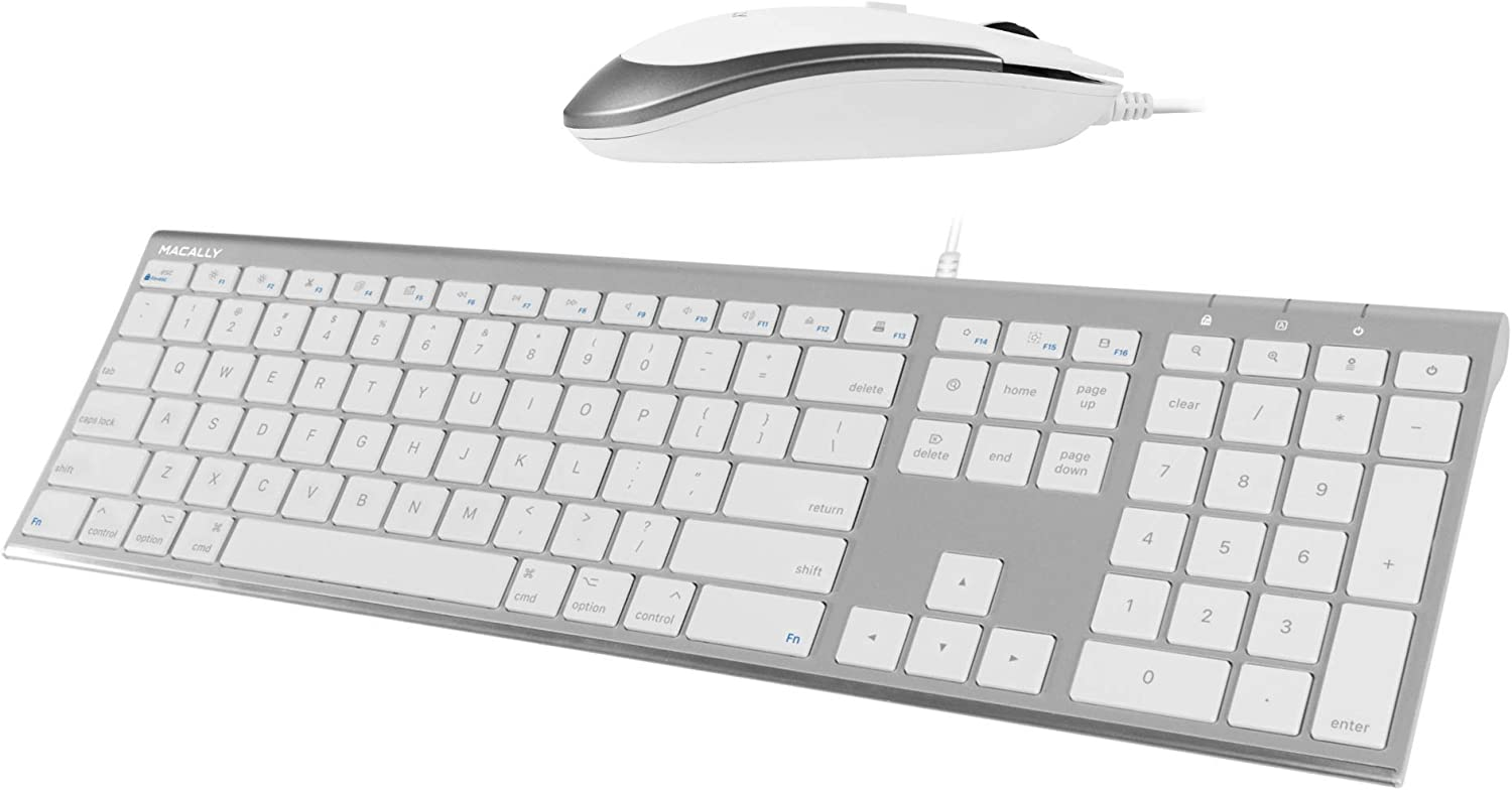 Macally Ultra Slim Wired Computer Keyboard and a Silent Wired Mouse, Ultimate Apple Accessories