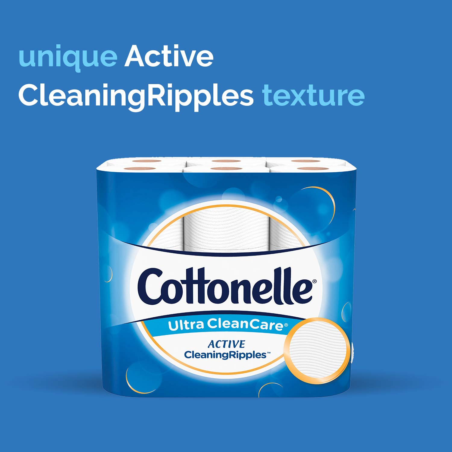 Cottonelle Ultra CleanCare Toilet Paper with Active CleaningRipples, Strong Biodegradable Bath Tissue, Septic-Safe, 24 Family Mega Rolls by Cottonelle (Image #5)