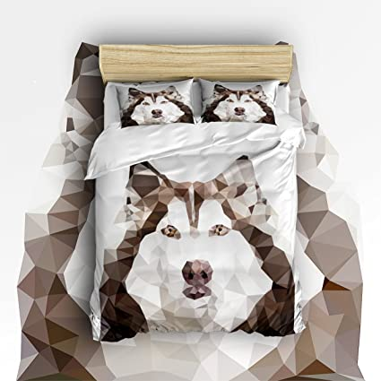Pretty Lee Bed Set Geometric Low Poly Sled Dogs Pattern Printed Bedding  Sets Comforter Set 4