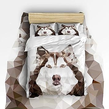4 piezas Juego de funda de edredón y funda de almohada ropa de cama - hipoalergénico y resistente a las arrugas - Geométrico Low poly perros de trineo por ...