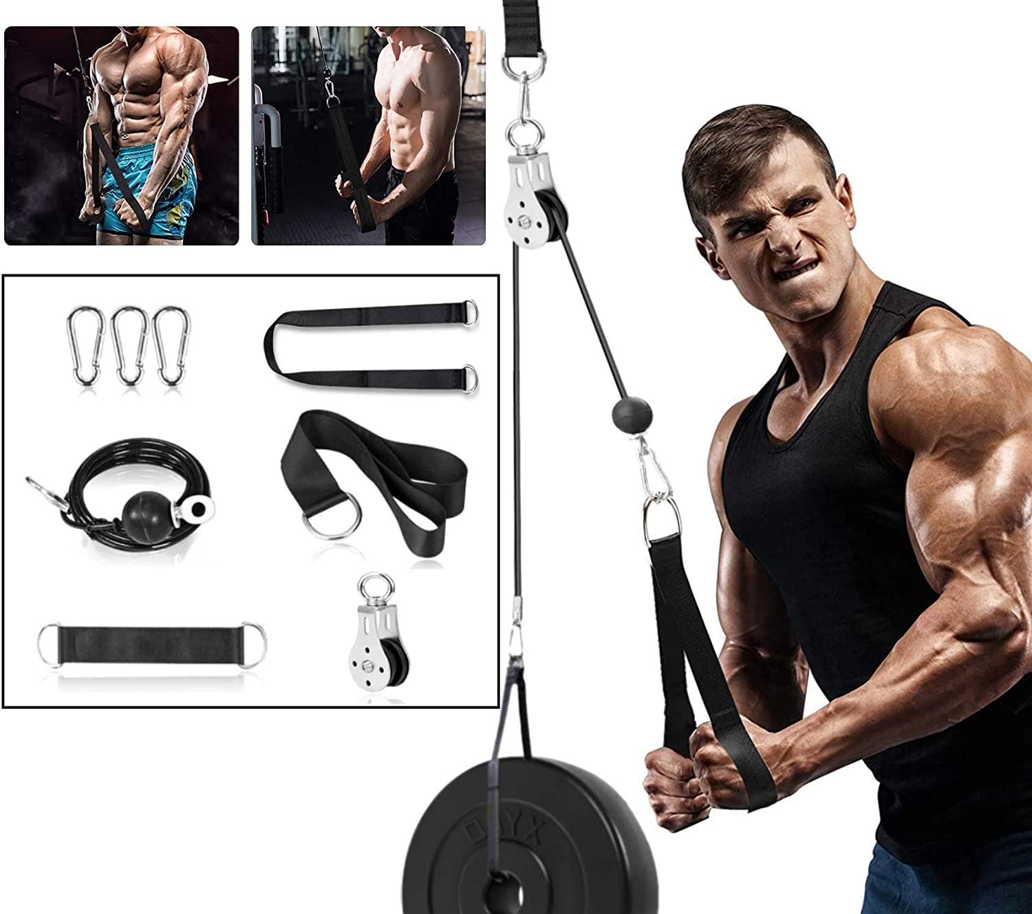 Nobranded Fitness Pulley Cable System Home Gym Workout fitness equipment high pull-down arm strength triceps machine DIY exercise pulley Tricep with wire rope nylon rope Accessorie 2M//78.7in