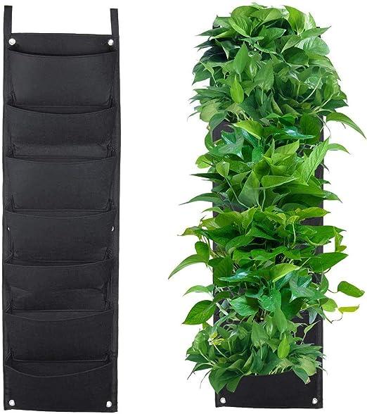 Plantar Bolsas, XGZ 7 bolsillo vertical montado en la pared mimbre planta de jardín macetas crecer bolsas bolsa bolsas de flores colgantes para fresa hierba planta: Amazon.es: Jardín