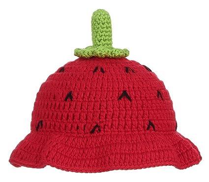 b2b3c75104e La Vogue Bébé Chapeau Casquette Bébé Fille Enfant Hiver Tricot Crochet  Bonnet Fraise Déguisement Noël Rouge