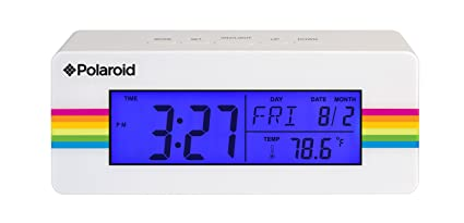 Style Asia Polaroid Desktop Digital Clock with 12/24 Hour, Indoor Temperature, Calendar